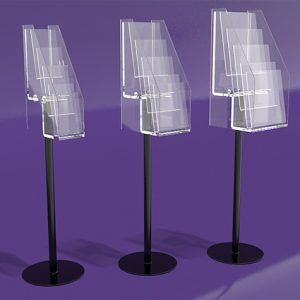 Brochure-Holders-Free-Standing-Four-Pocket-Dl-leaflet-Stand